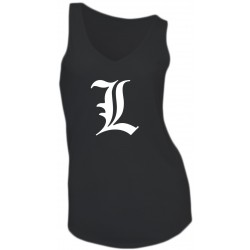 "GIRL T-SHIRT - DEATH NOTE ""L"" - SLEEVELESS - V-NECK"