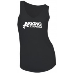 GIRL T-SHIRT - ASKING ALEXANDRIA- SLEEVELESS - V-NECK